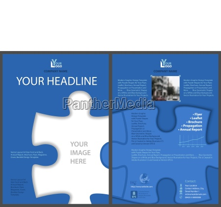 blue flyer template with puzzle shape