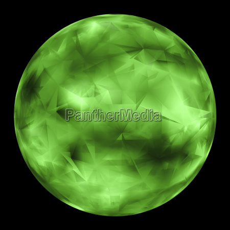 green glowing orb isolated over black