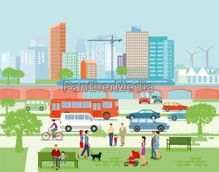 grossstadt panorama mit strassenverkehr und fussgaenger