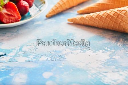 strawberry ice cream border with copy