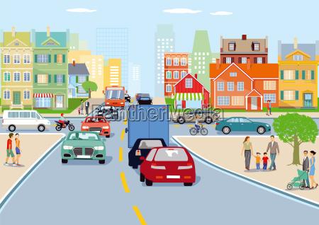 stadt mit strassenverkehr illustration