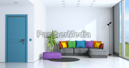bright living room with colorful sofa