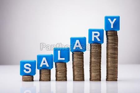 blue salary cubic blocks on increasing