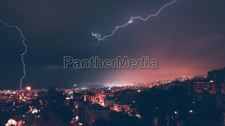 beautiful lightning over city