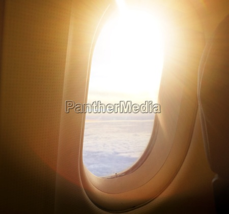 airplane window view inside an aircraft