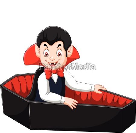cartoon happy vampire in his coffin