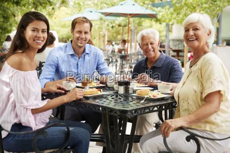 senior couple enjoying meal at outdoor