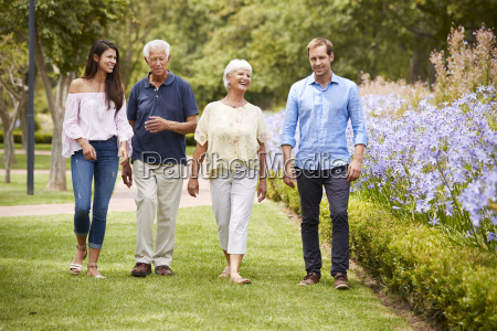 senior parents with adult children on