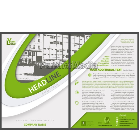 flyer template with stripes and city