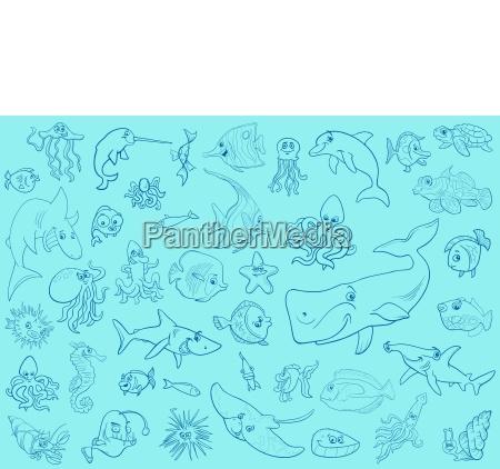 tier fisch illustration garnitur cartoon ansetzen