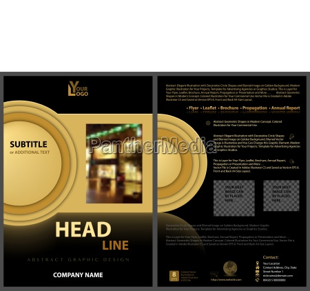 black flyer template with golden design