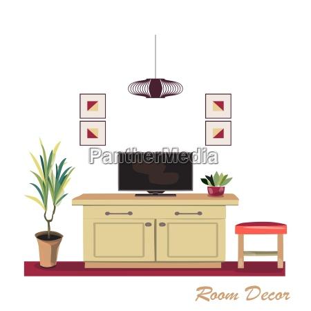 innenarchitektur illustration moderner roter wohnzimmer stilstil