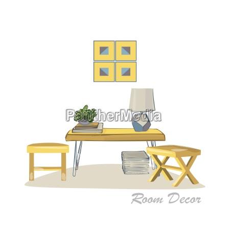 innenarchitektur illustration moderne elemente wohnzimmer trendigen