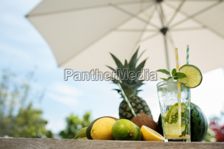 summer drink and fruits