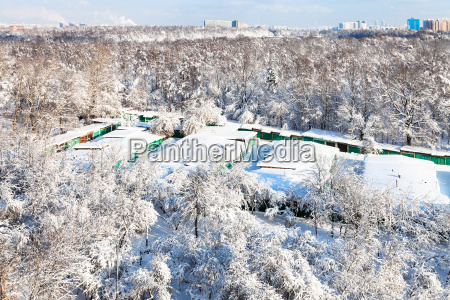 snow covered garages in moscow city