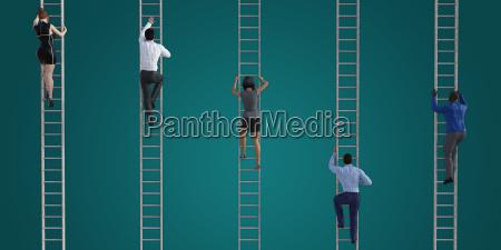 klettern auf der unternehmensleiter