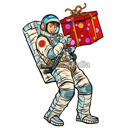 kosmonaut mit geschenkbox