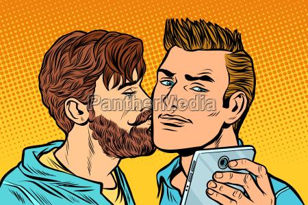 men couple friendship meeting smartphone
