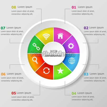 infografische designvorlage mit web icons