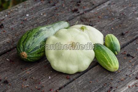 zucchini, , two, pattypan, squash, and, cucumbers - 25761989