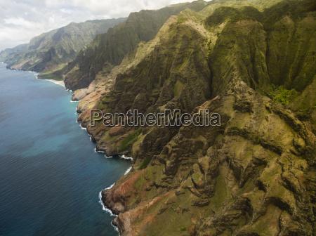 aerial view of na pali coast
