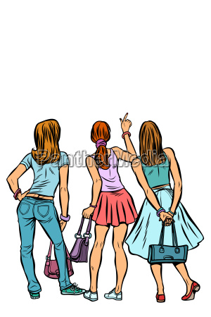 young women shoppers back isolate on