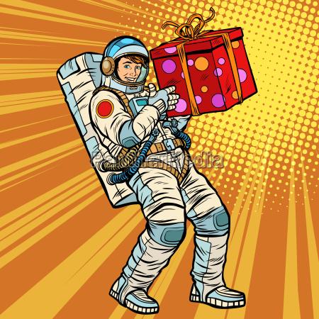 astronaut geburtstag mit einem geschenk