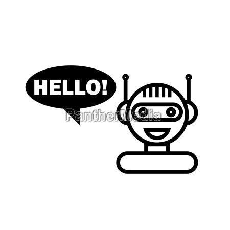 black line chat bot auf weissem