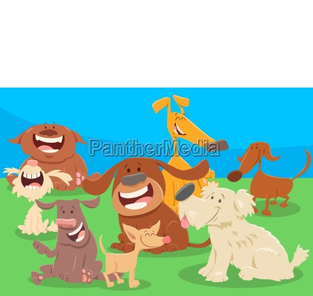 cute dogs cartoon characters group