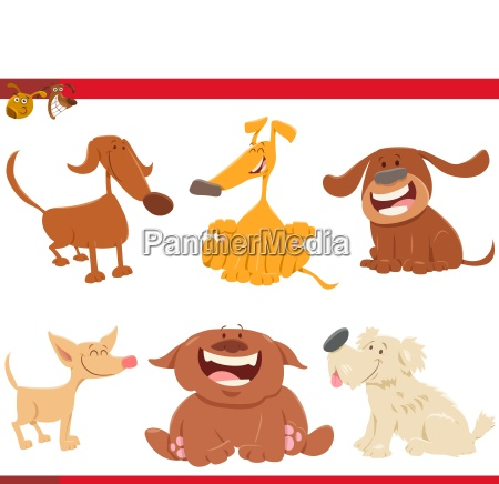 cute happy dogs cartoon characters