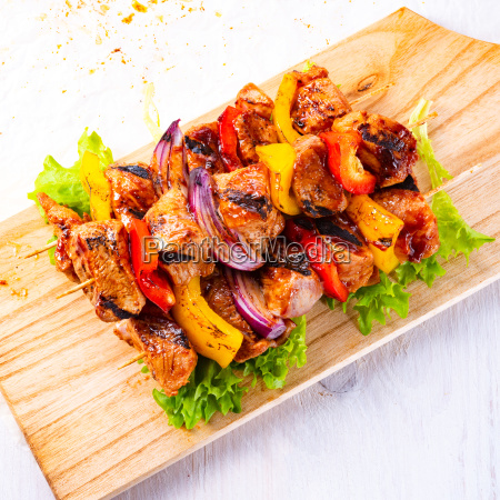 tasty and colorful meat skewers with
