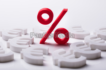 3d red percentage and euro symbol