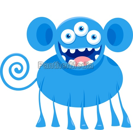 blue monster fantasy character cartoon illustration