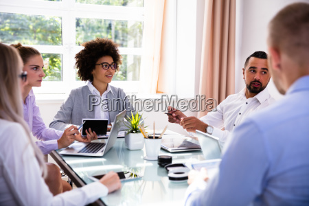 group of diverse businesspeople in meeting