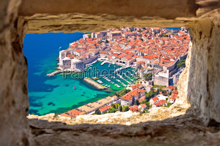 dubrovnik historic city and harbor aerial