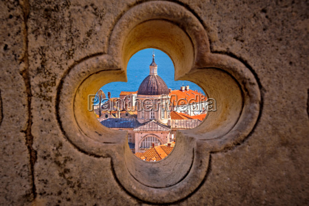 dubrovnik landmarks view through stone carved