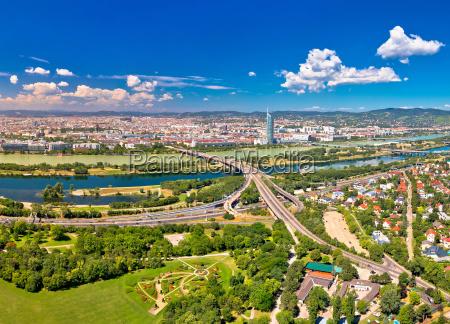 vienna skyline and cityscape aerial panoramic
