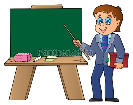man teacher standing by schoolboard