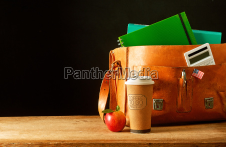 leather briefcase satchel with coffee cup