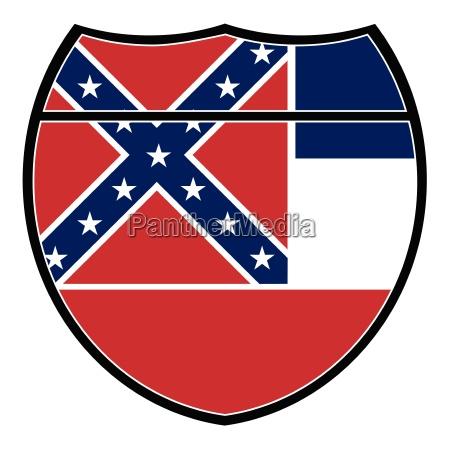 mississippi flagge in einem interstate schild