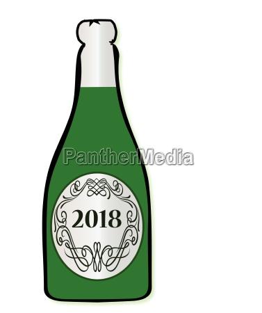 2018 feier weinflasche