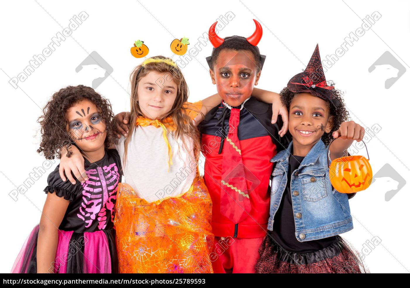 Halloween Gruppo.Stockfoto 25789593 Gruppe Von Kindern In Halloween Kostumen