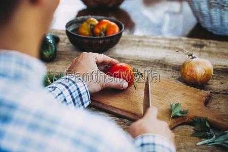 preparing salad on table fresh homemade