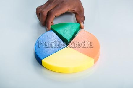 menschliche hand nimmt green piece of