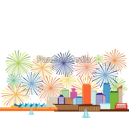 vancouver bc canada skyline fireworks illustration