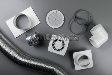 ventilation system equipment on gray background
