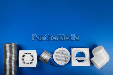 ventilation system equipment on blue background