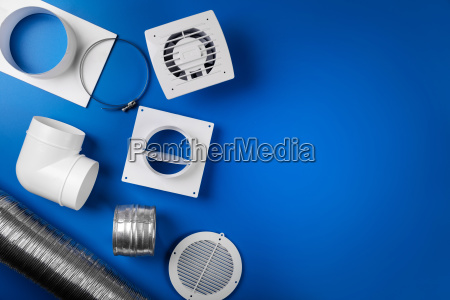 home ventilation system items on blue
