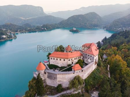 medieval castle on bled lake in