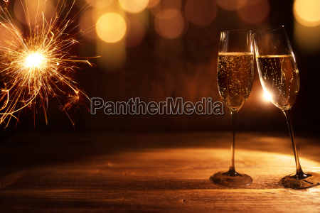 golden new year background with champagne